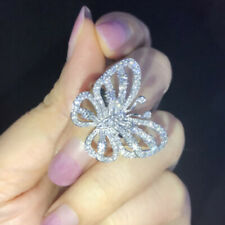 Vivid Butterfly White Rhinestone Inlaid Cute Silver Finger Ring Size 8 Charm