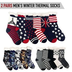 2 Pairs Mens Winter Thermal Socks Fur Fleece Lining Knit Thick Warm Bed Lounge