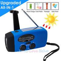 Emergency Solar Hand Crank Dynamo AM//FM//WB//NOAA Weather Radio 3LED Torch Charger