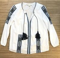 Michael Kors Womans White Embroidered Tassel Blouse Peasant Top Size Small