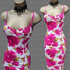 Karen Millen Ivory Vintage Rose Floral Print Bodycon Wiggle Cocktail Dress 14 UK