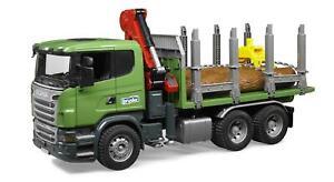 Bruder 03524 Scania Holztransporter LKW Ladekran Greifer 3 Baumstämme Lastwagen