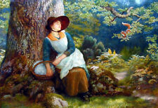 Oil painting female portrait young woman Asleep in the Woods with cute Squirrel