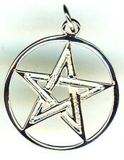 "925 Sterling Silver Double Lined Pentagram Pendant 17mm  (5/8"") DIA"