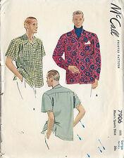 1949 Vintage Sewing Pattern MEN'S SHIRT S:16-16 1/2 (R722)