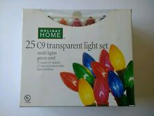 Holiday Home Transparent Bulb Light Set - C9 Bulbs Mixed color 12 inch spacing