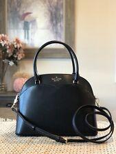 Kate Spade Payton Medium Dome Satchel Shoulder Bag Black Gold Leather