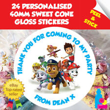 24 Personalised Paw Patrol Birthday Party Thank You Sweet Cone Stickers Seals