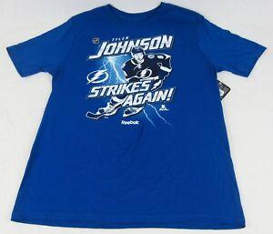 NWT Reebok Youth NHL Lighting Johnson Strikes Again Short Sleeve Tee Blue 14/16