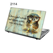 "TaylorHe 15.6"" Laptop Vinyl Skin Sticker Decal Colourful Wise Owl Painting 2114"