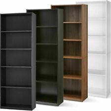 "71"" Tall 5-Shelf Wooden Standard Bookcase Closed Back Adjustable Bookshelf"