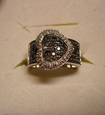 Black & White Diamond Buckle Ring Sz.7   76 diamonds .75tcw MSRP$1749