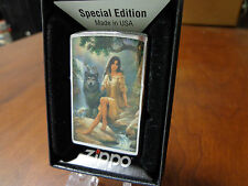 INDIAN YOUNG WOMAN AND WOLF ZIPPO LIGHTER MINT IN BOX RUSS DOCKEN
