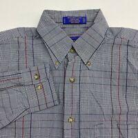 Pendleton Button Up Shirt Men's Size Small Long Sleeve Gray White Plaid Cotton