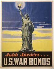 Original Vintage WWII Poster JOBB JOVOERT U.S. WAR BONDS Hungarian Text Wold War