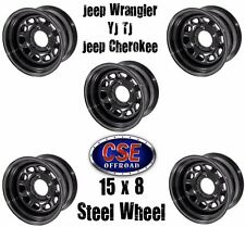 SET OF 5 Black 15x8  D Window Steel Wheels Jeep Wrangler YJ TJ 1987-06 391550001