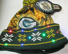 Green Bay Packers BIG Logo LED Light up Hat Winter Pom Beanie Stocking Knit Cap