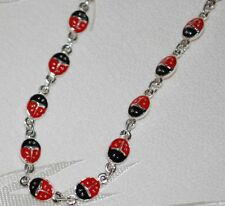 with Red Cloisonne Ladybugs Anklet New Red Lady bug Ankle Bracelet Silver