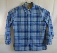 LL Bean Mens Size Medium Blue Plaid Flannel Lined Long Sleeve Shirt Jacket EUC