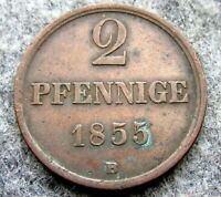 GERMAN STATES - DUCHY OF BRUNSWICK-WOLFENBUTTEL 1855 2 PFENNIGE, COPPER