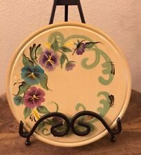 """Toleware Handpainted Plate 8"""" ARTIST SIGNED P Tisdel 2001 Yellow w/PANSIES VTG"""