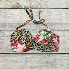 Victoria's Secret Bikini Top Size 34DD Floral Cheetah Print
