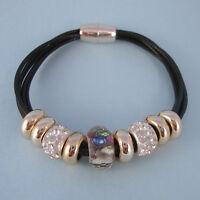 "Black 'Leather"" Trendy Murano, Gold, CZ Beads NEW Magnetic Bracelet USA Seller"