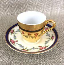 Vintage Teacup & Saucer Crescent China Royal Worcester Gold Reflective Lustre