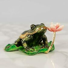 More details for frog on lily pad trinket box / ornament gift *new* boxed - treasured trinkets