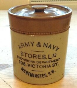Antique Army & Navy stoneware storage jar Victorian St Westminster London