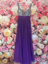 Gino Cerruti Long Purple Beaded Detail Prom Gown Evening Dress UK 8