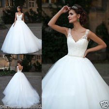 Tulle Lace V-neck a-line Wedding Gown Bridal Long Dress White/Ivory Custom Size
