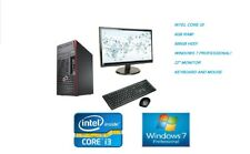 "Full SET Cheap Fast Intel i3 Micro Tower PC 4GB 500GB 22"" Monitor Windows 10 Pro"