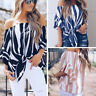Women Off Shoulder Strapless Chiffon Tops Stripe Flared Sleeve Blouse Shirt Tops