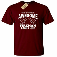 Awesome FIREMAN T Shirt gift fire fighter present birthday