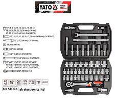 "YATO PROFESSIONAL 1/2""AS-DRIVE TOOL SOCKET SET 46pcs SPANNER RATCHET Metric/SAE"