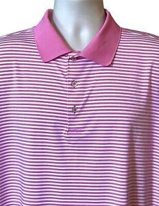 Peter Millar Summer Comfort Short Sleeve Polo Golf Shirt Pink Striped XL