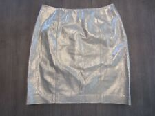 "New Linda Allard Ellen Tracy Leather Pencil Skirt Size 8 Waist 28"" Shiny Golden"