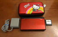 Nintendo DS Lite Console Crimson Red w/ Acekard 2 Hello Kitty Case Charger