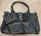Arden B Large Shoulder Bag Purse Black Vintaged Gold Studs Matching Wallet Set