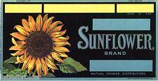 GENUINE ORANGE CRATE LABEL SUNFLOWER VINTAGE FLORAL ADVERTISING 1930S VAN GOUGH
