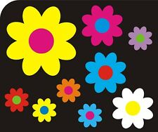 32 Multi Coloured Daisy Flower Car Stickers Decals Graphics Bedroom Wall Art