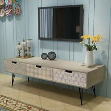 vidaXL TV Cabinet Stand Entertainment Unit Sideboard Table 3 Drawers Brown/Grey