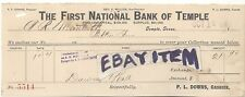 1907 FIRST NATIONAL BANK Temple Texas P. L. DOWNS  George Willcox RECEIPT check