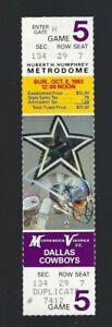VINTAGE 1983 NFL DALLAS COWBOYS @ MINNESOTA VIKINGS FULL FOOTBALL TICKET