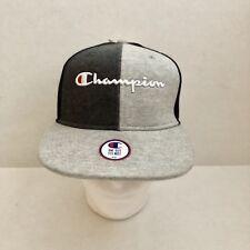 Authentic Champion Reverse Weave Hat Cap Split Grey Black C Logo Rare