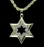 """Mens Cz 6 Point Star Pendant 14k Gold Plated 24"""" Rope Chain Hip Hop Necklace"""