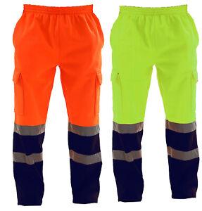 Mens Hi Vis Visibility Viz Safety Fleece Bottoms Work Wear Trouser Jogger Pants