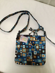Donna Sharp Fabric Crossbody/Shoulder Bag in Blue And Brown Geometric Pattern