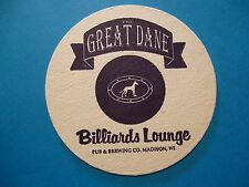 Beer Brewery Coaster ~ GREAT DANE Pub & Brewing ~ Billiards Lounge ~ Madison, WI